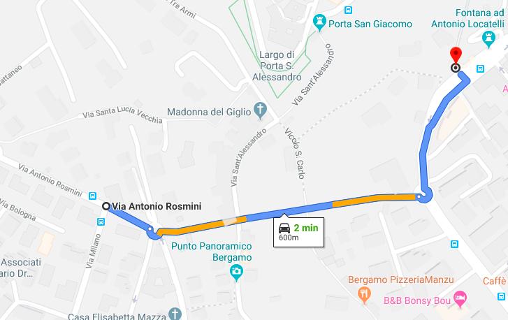 Mappa Funicolare Bergamo Alta